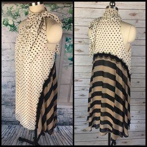 Polka Dot & Strip Cream & Black Dress